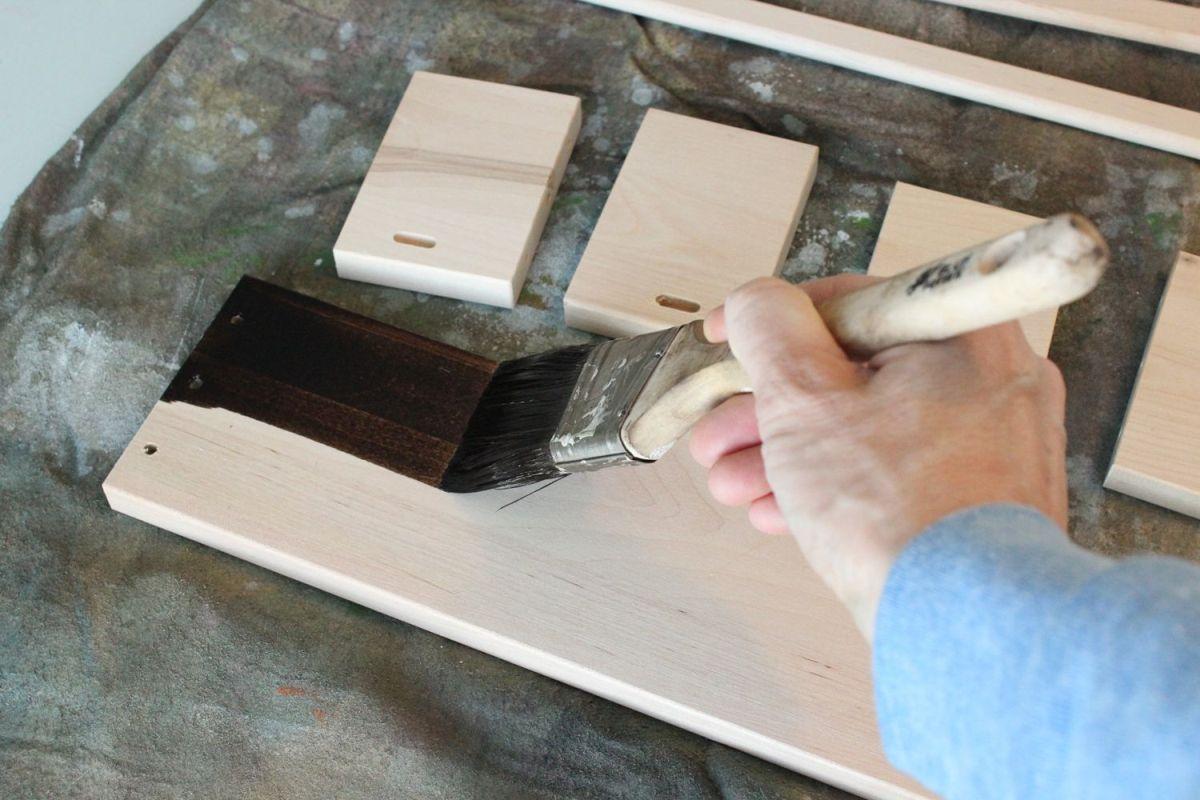 DIY Jewelry Holder - applying wood stain