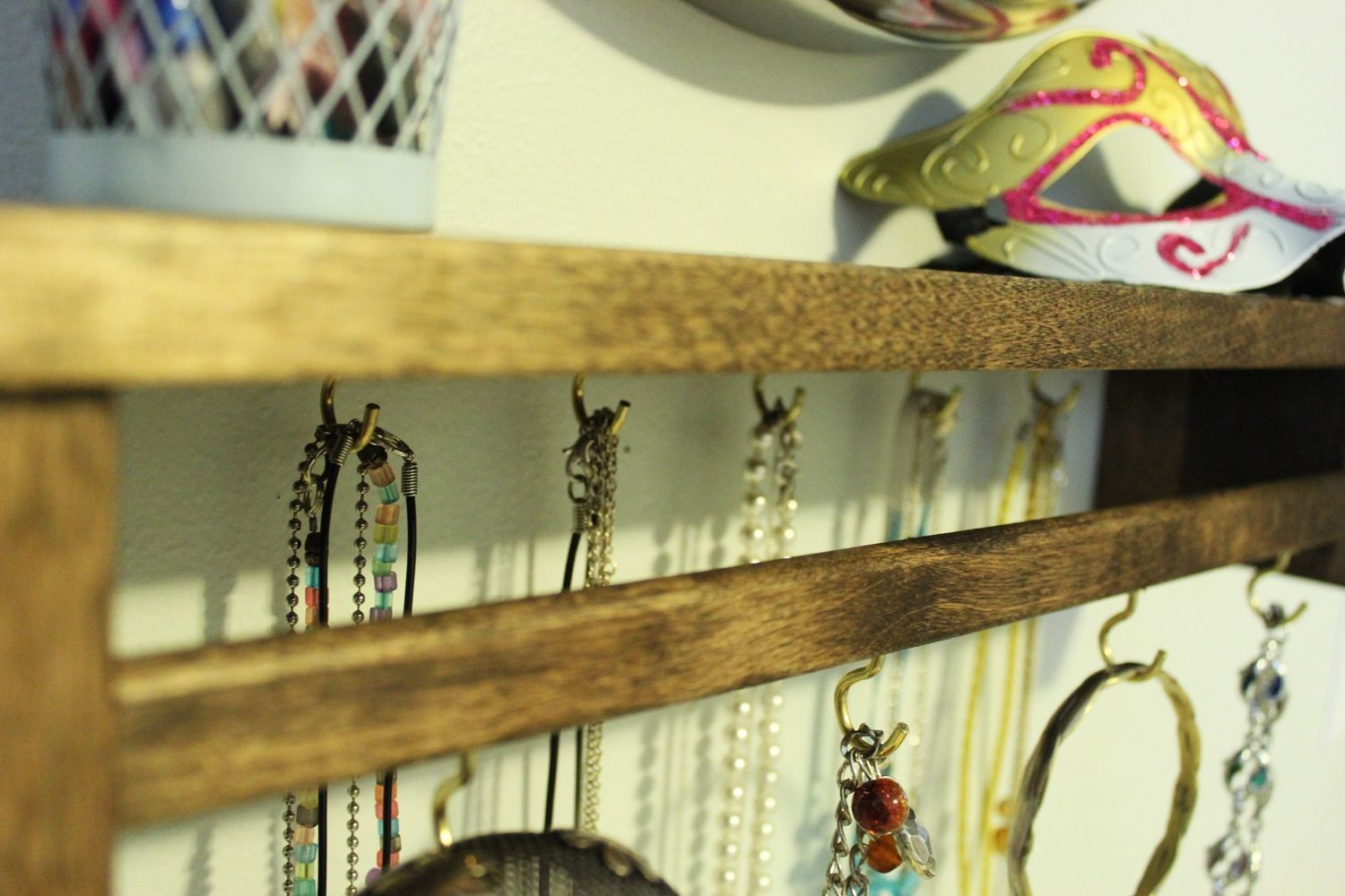 DIY Jewelry Holder out of Spice Rack - stained wood