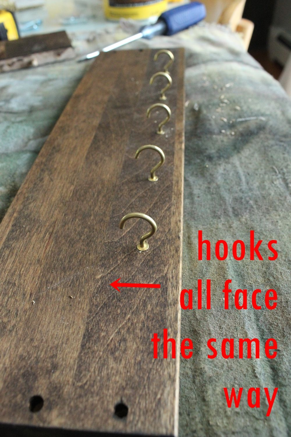 DIY Jewelry Holder - same direction hooks