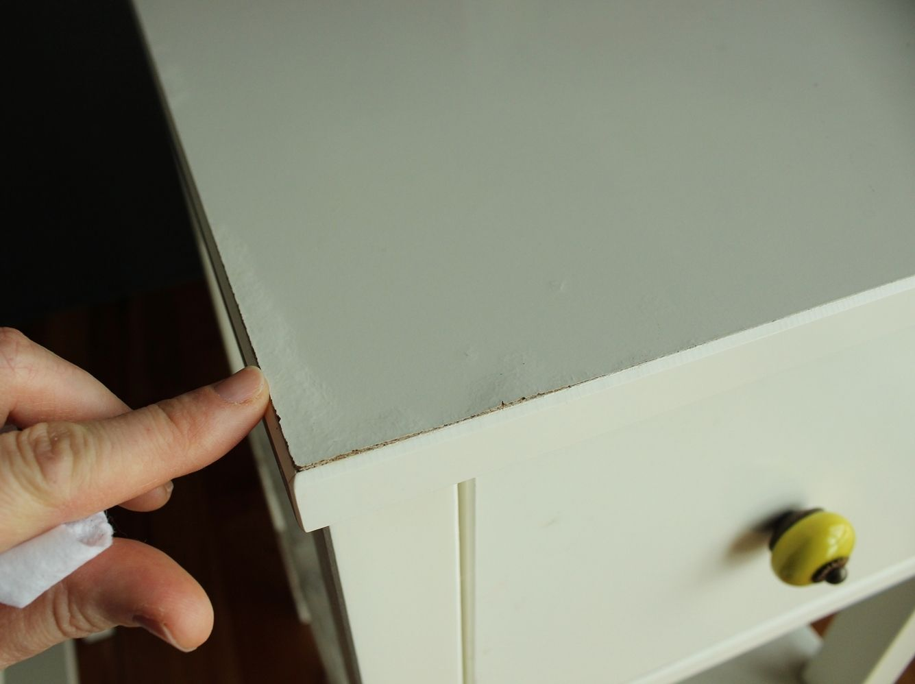 DIY Marble Contact Paper - night stand top before
