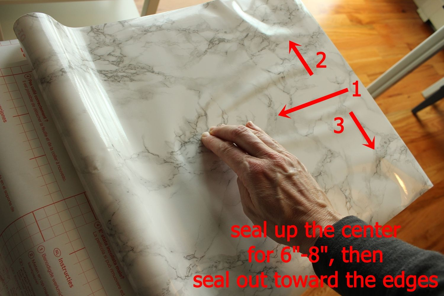 DIY Marble Contact Paper - seal up the center