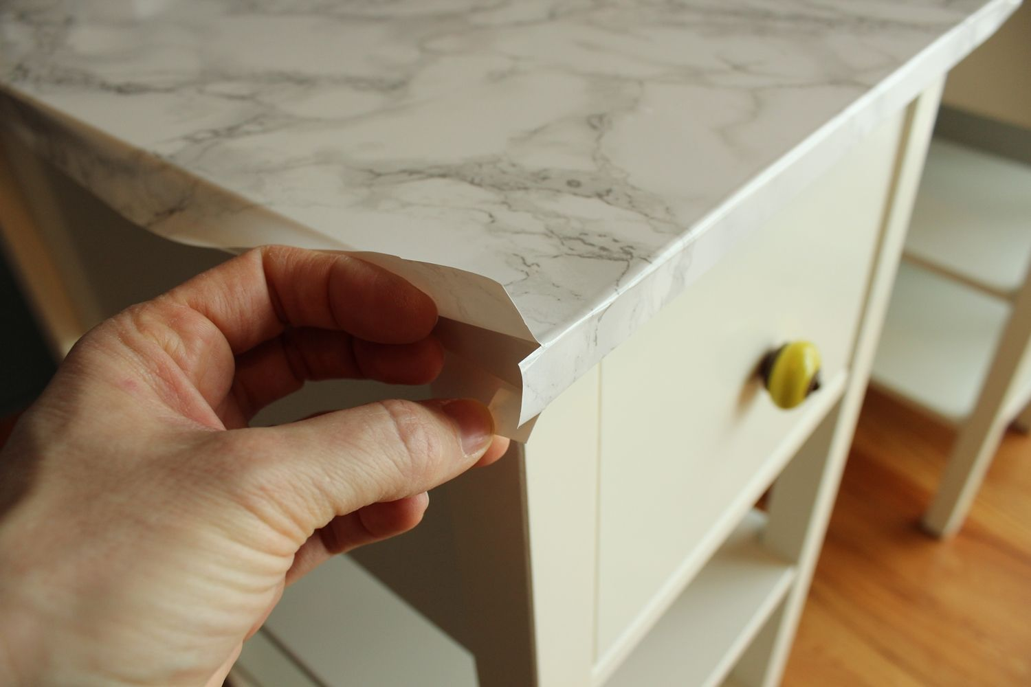 Diy Nightstand Upgrade With Marble Contact Paper
