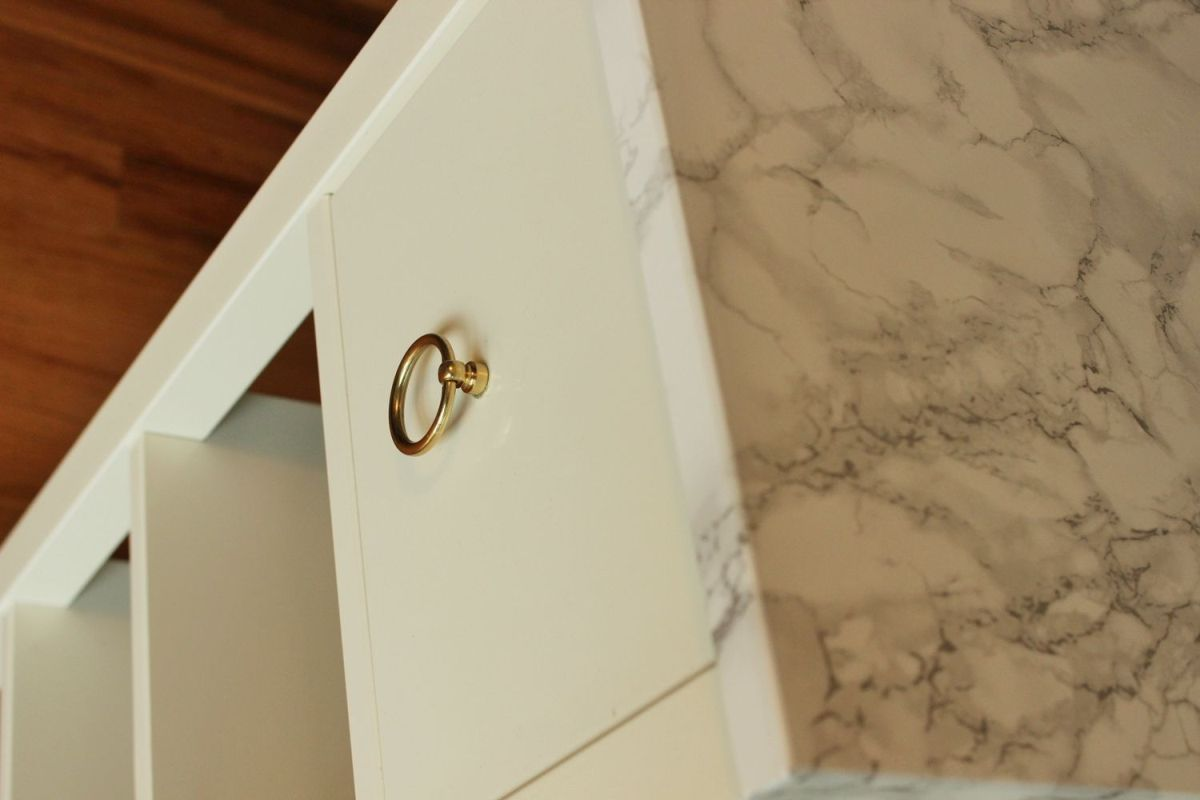 DIY Night stand Marble Contact Paper