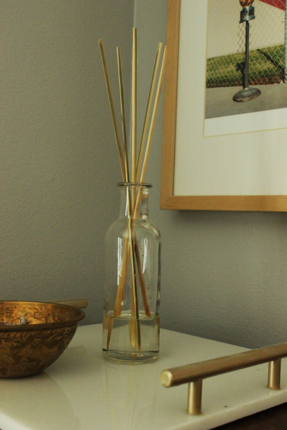 DIY Oil Reed Diffuser on a tray
