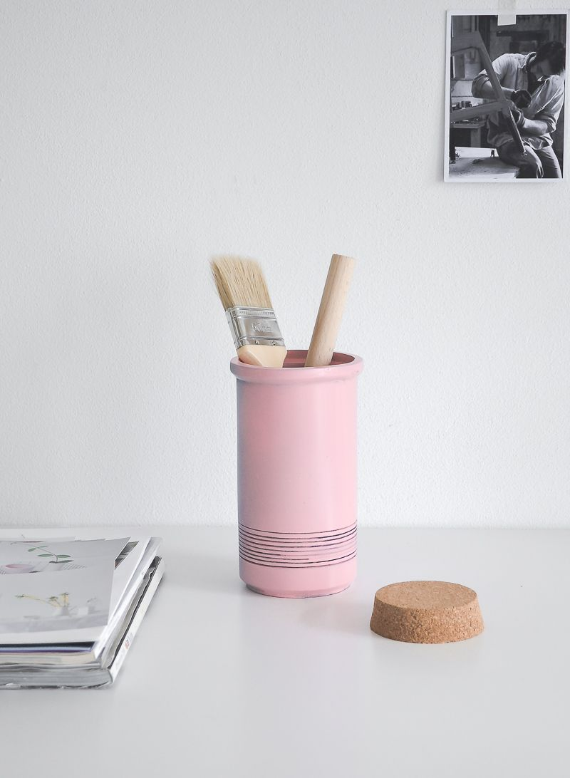DIY Storage Cork Jar in pink