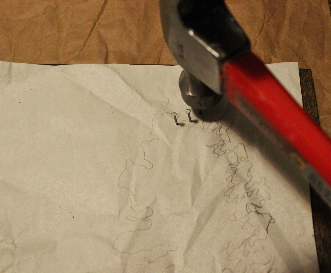 DIY String Art Tree - Line up the paper