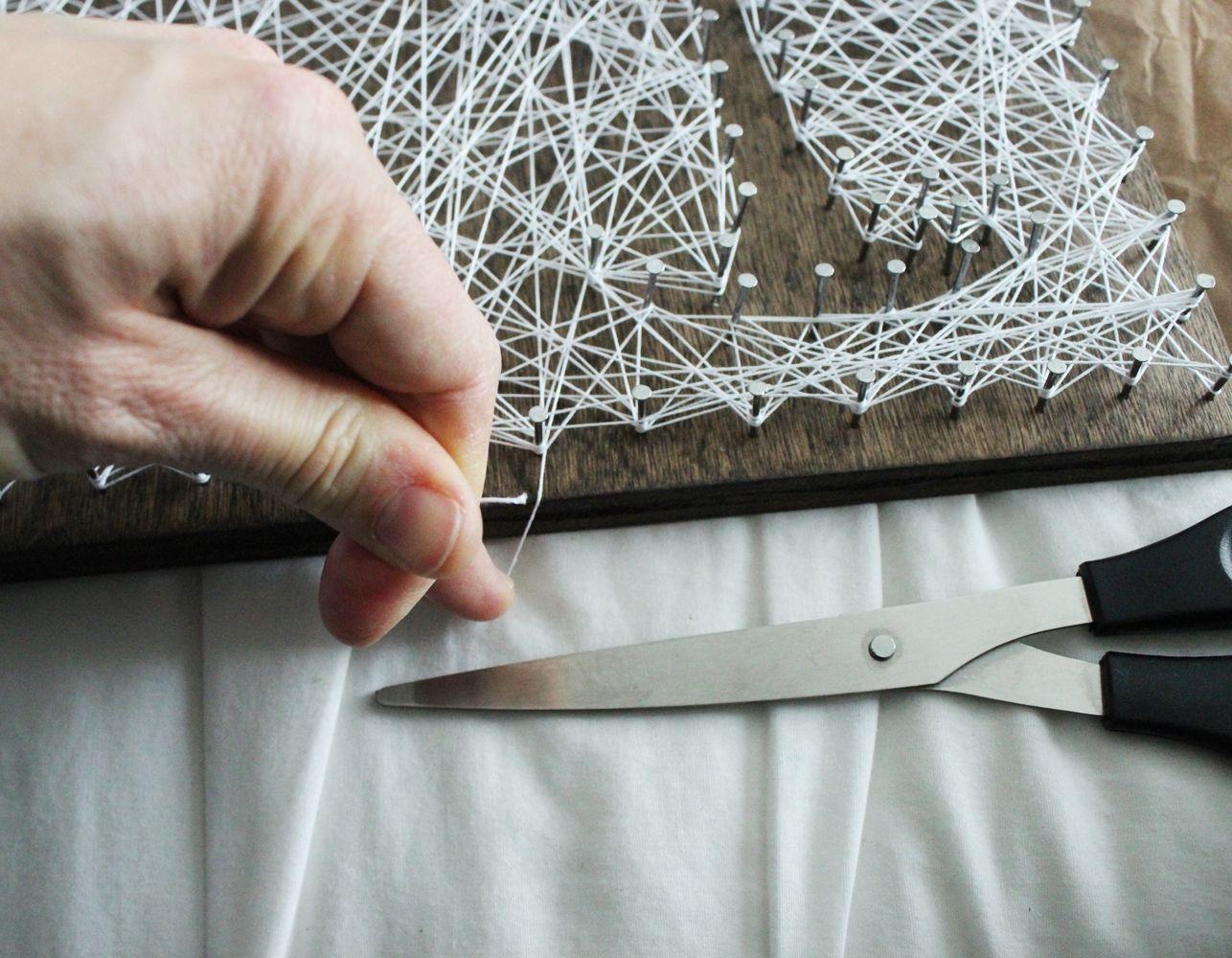 DIY String Art Tree - taut string