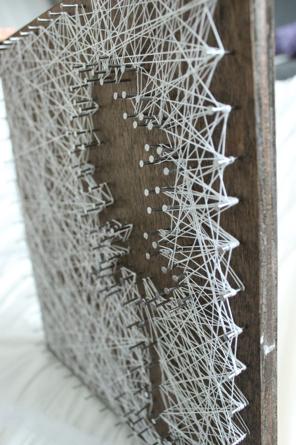 DIY String Art Tree - wood enhances the negative string art tree