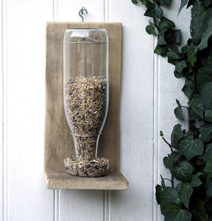 DIY bottle bird feeder