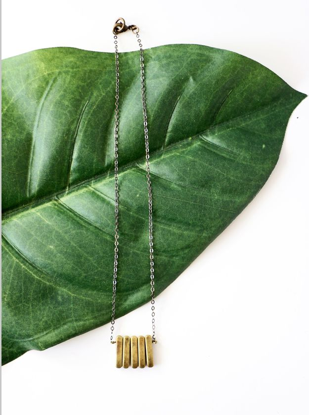 DIY brass necklace