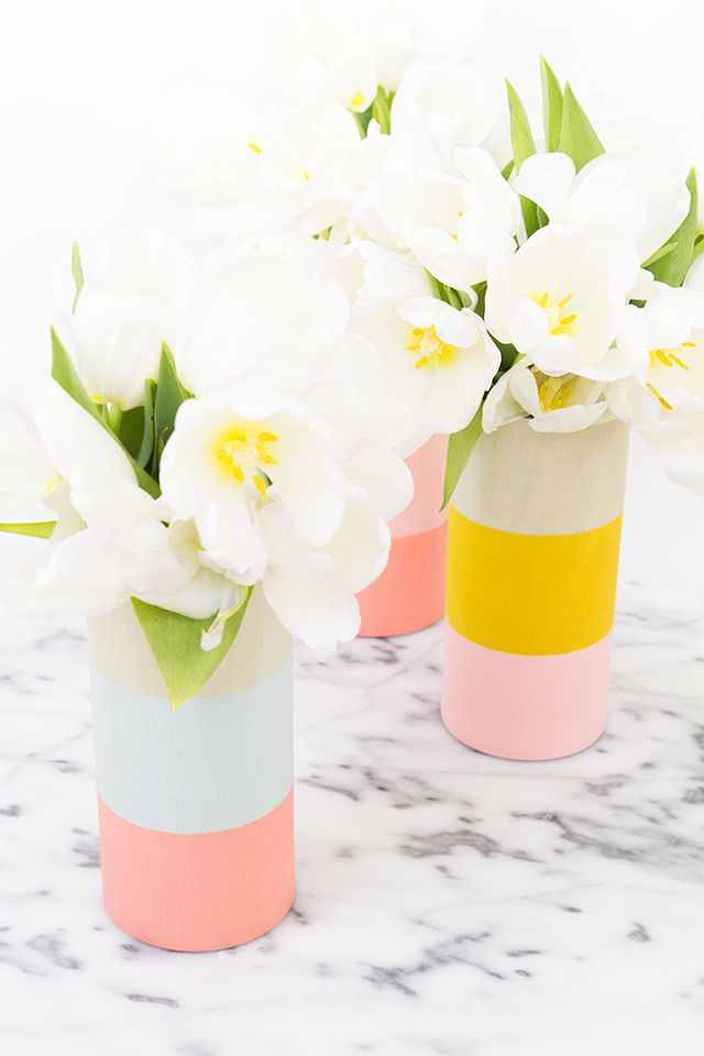 DIY color block vase