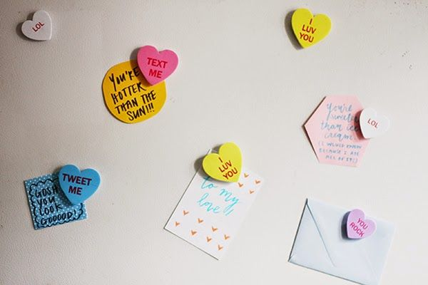 DIY conversation heart magnets