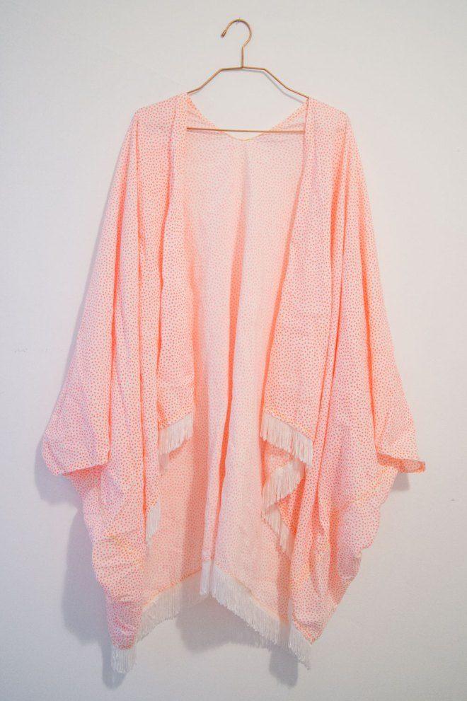 DIY fringed kimono