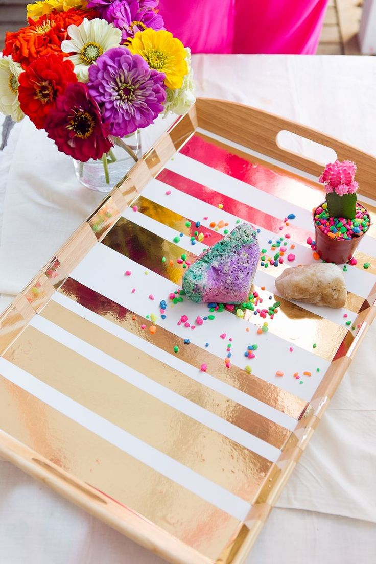 DIY gold serving tray