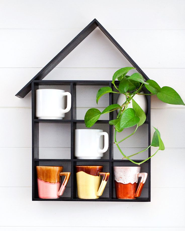 DIY house mug shelf