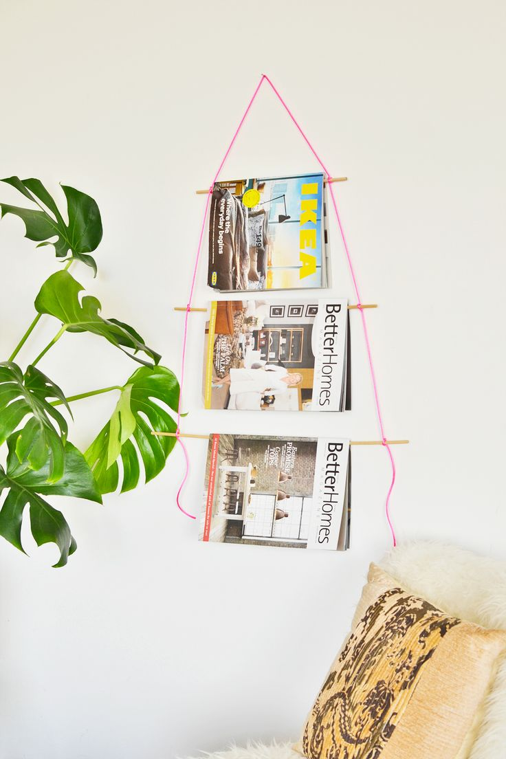 DIY magazine wall hanging