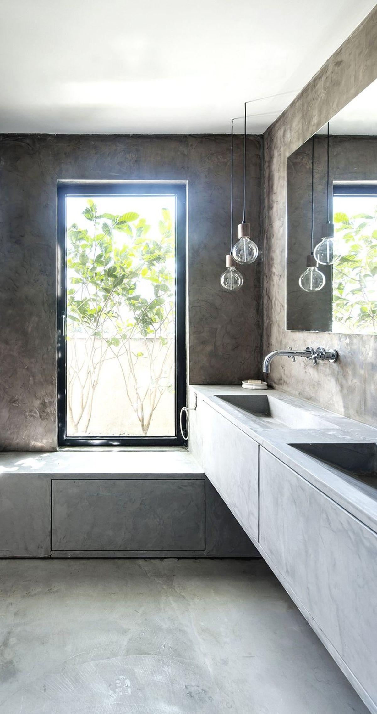 Duplex penthouse renovation bathroom concrete design