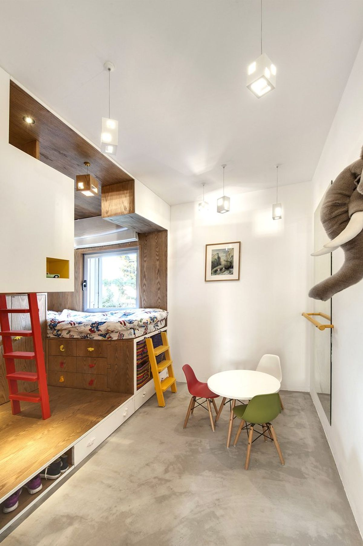 Duplex penthouse renovation kids room platform beds