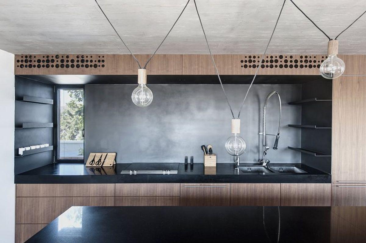 Duplex penthouse renovation kitchen bar