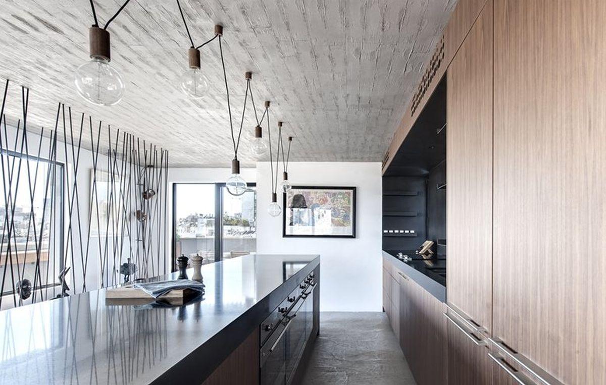 Duplex penthouse renovation kitchen island parallel