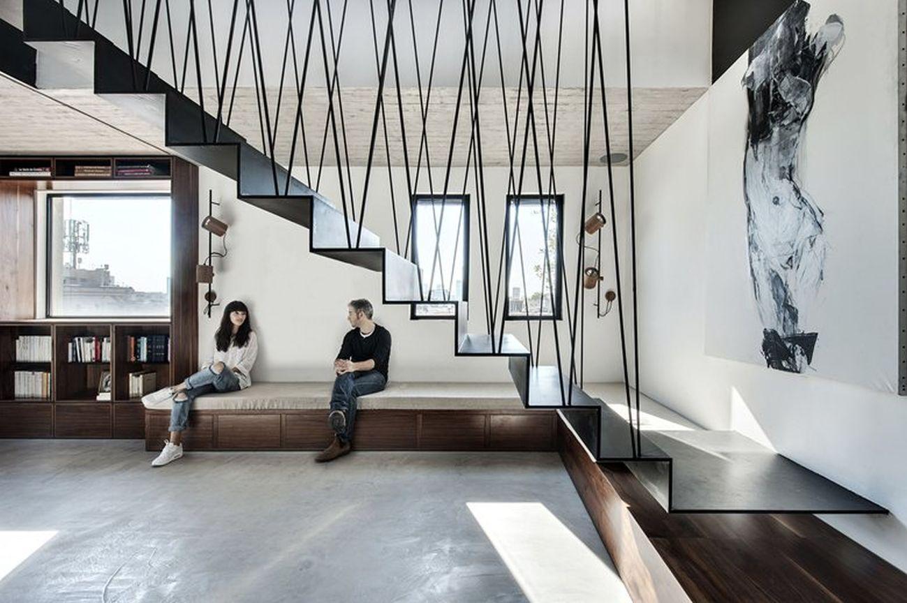 Duplex penthouse renovation lower level social space