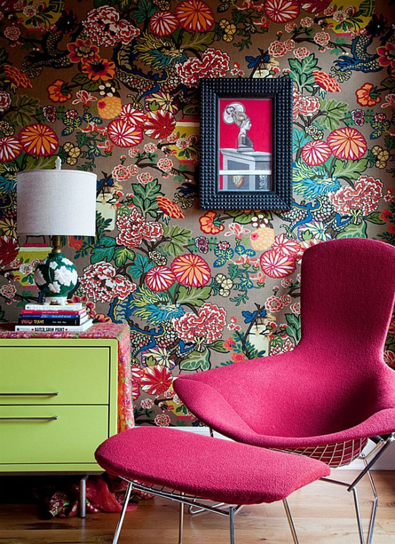 Eclectic floral wallpaper