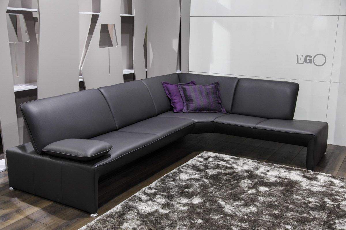 Eggo black leather sofa