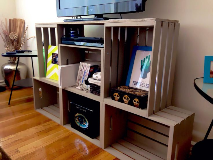 Entertainment Center from crates & 39 Wood Crate Storage Ideas That Will Have You Organized In No Time!