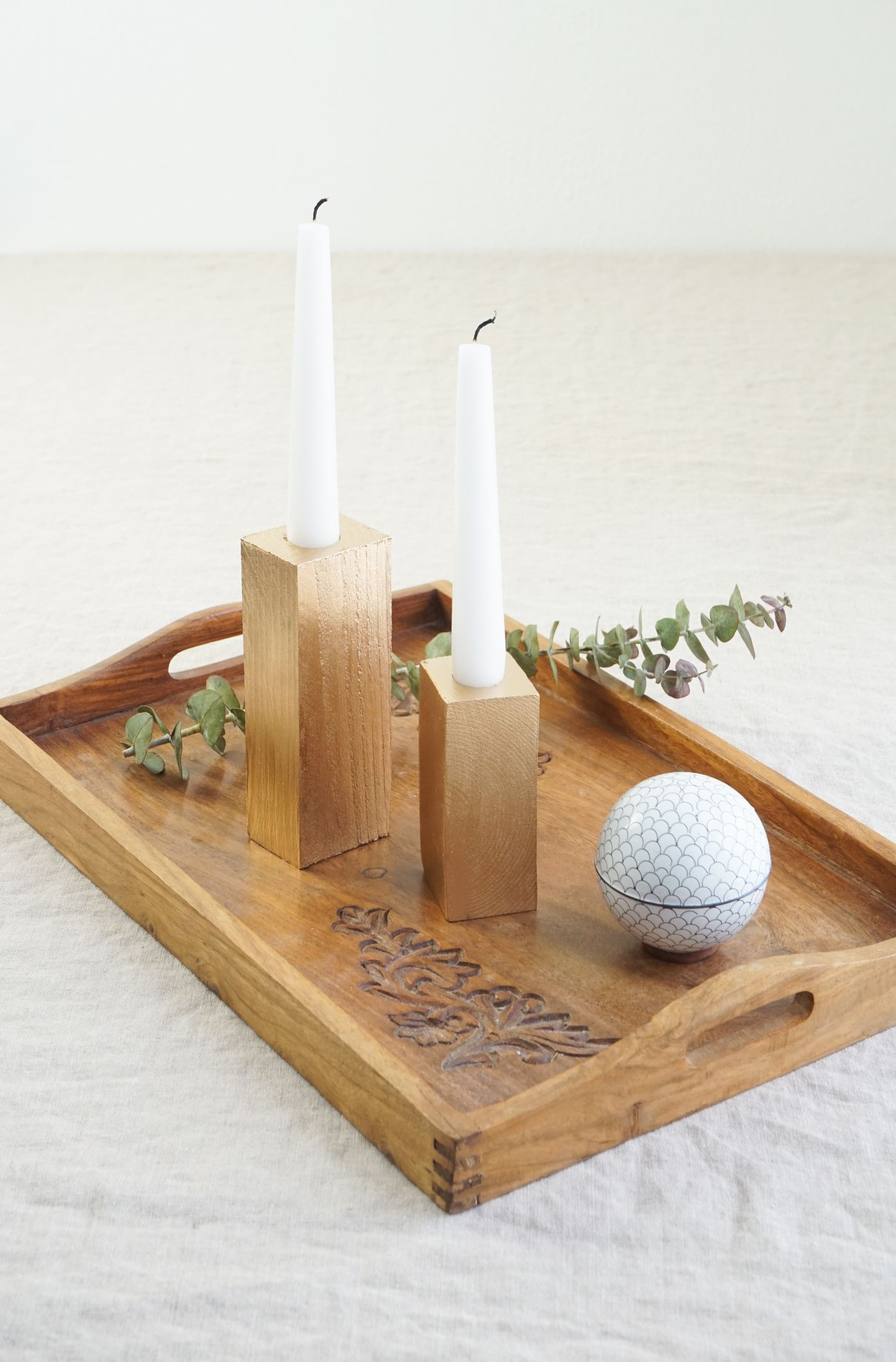 Faux Bois Candle Sticks - Tray