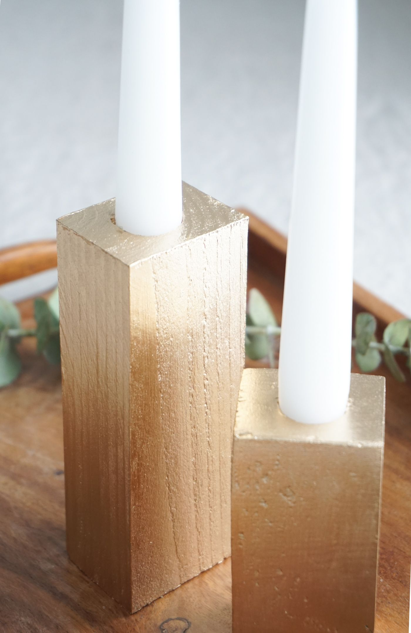 Faux Bois Candle Sticks in Gold