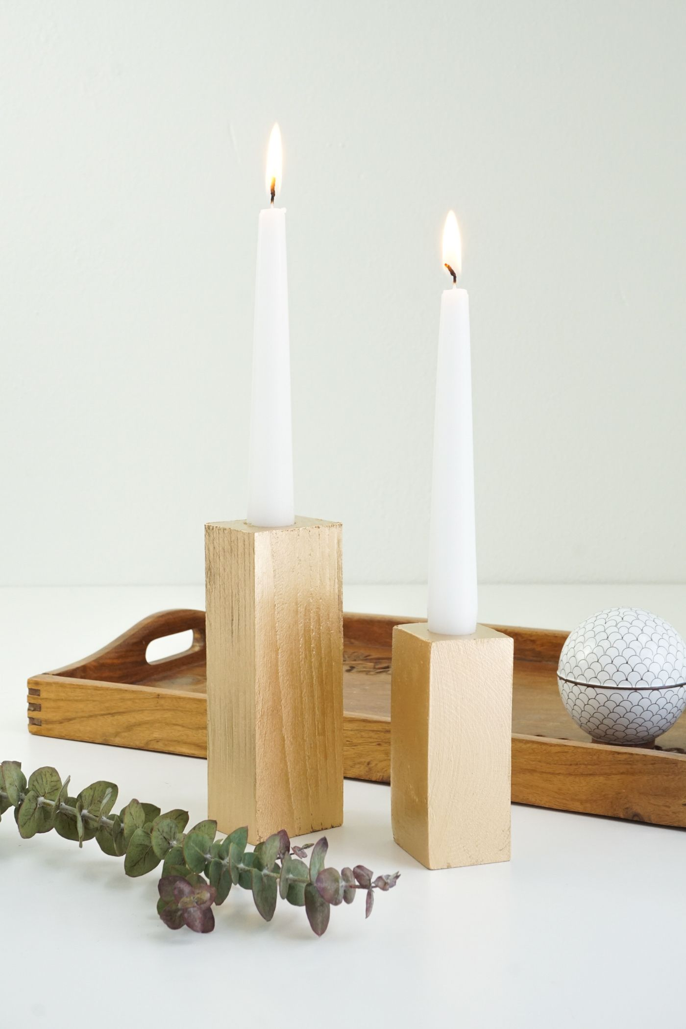 Faux Bois Candle Sticks - pair