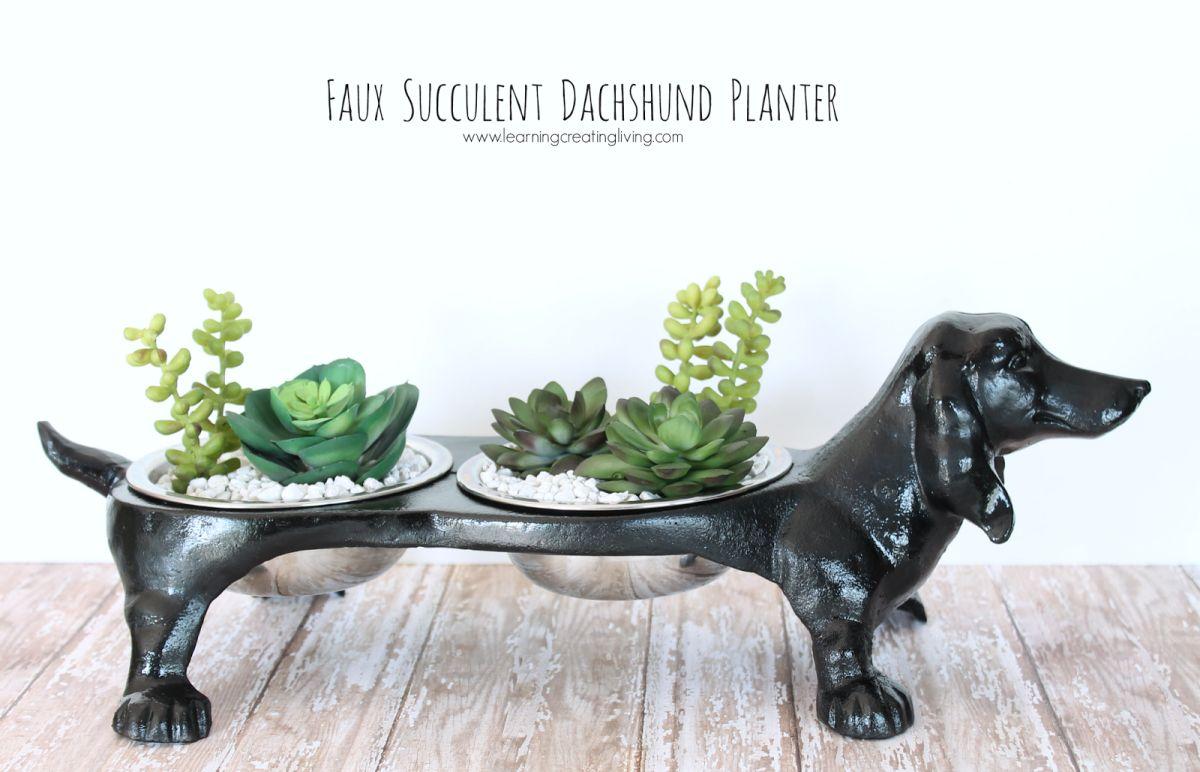 Faux dachshund planter