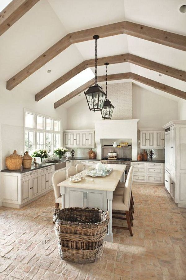 Flat ceiling exposed beams