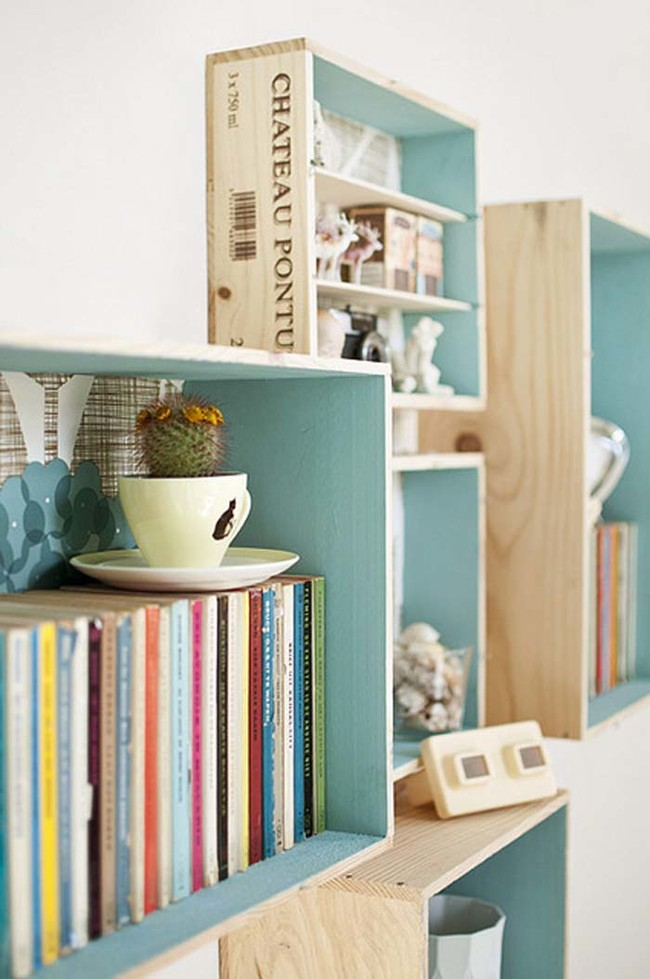 Floating boxed wooden shelves