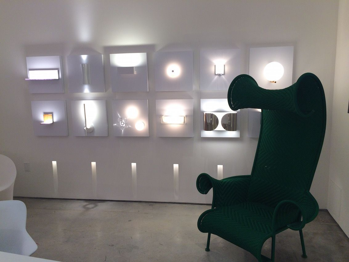 Flos lighting with jade green chair