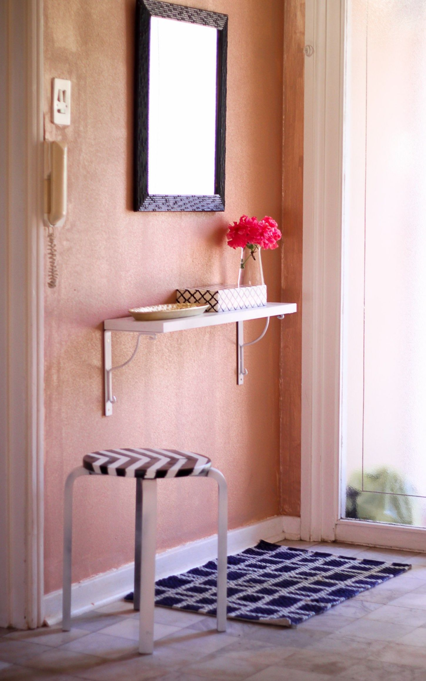 fresh pink flowers for entryway