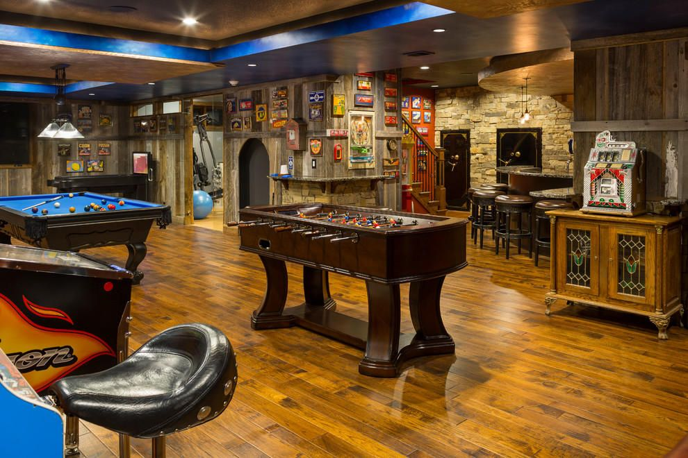 Spread the furniture throughout the game room for comfortable use.