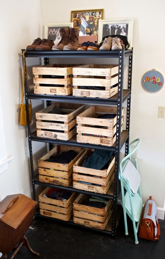 Garage wooden crates storage