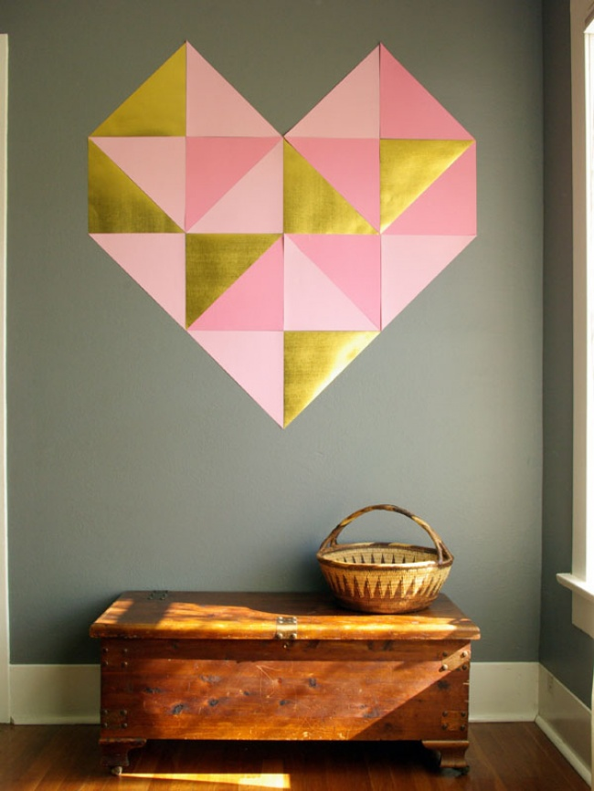 Geo heart wall art
