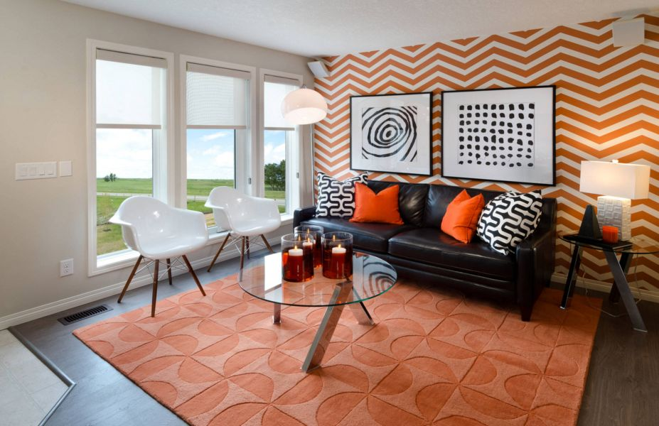 Geometric wallpaper in orange for living room
