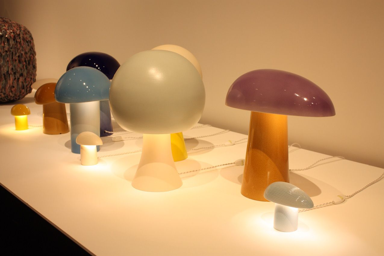 Elements of the mushroom shape often appear in Devriendt's work. Grouped or singly, these lights are conversation pieces.