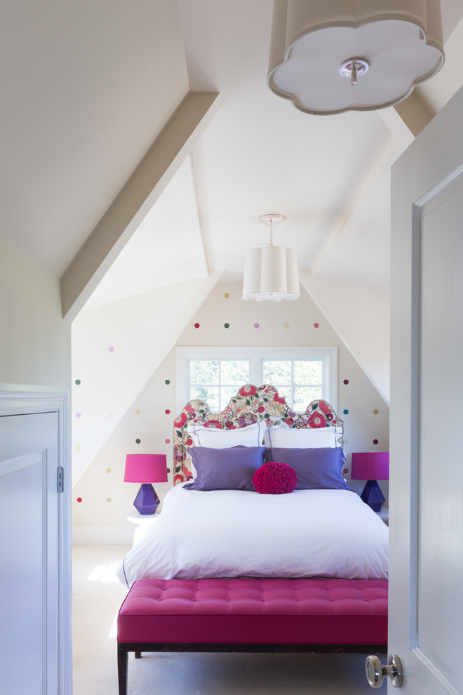Girlish attic bedroom