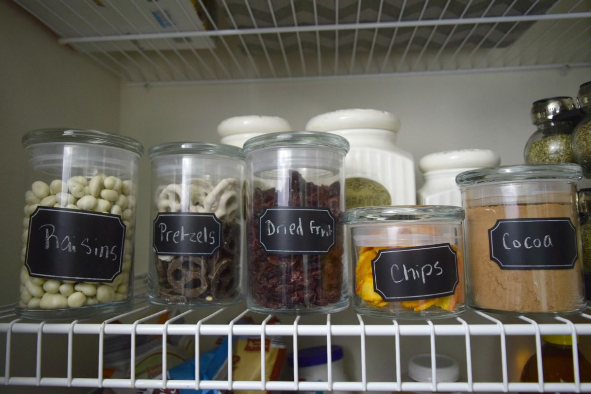 Space in the kitchen by adding shelves and glass canisters with seals - Glass Jars Keep Seal Fresh