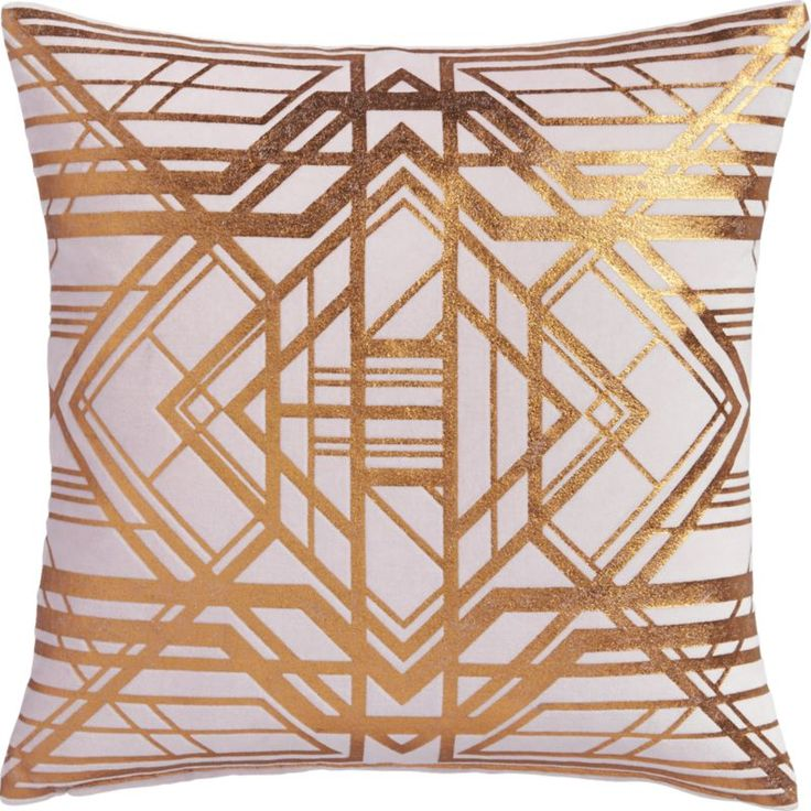 Graphic gold throw pillow