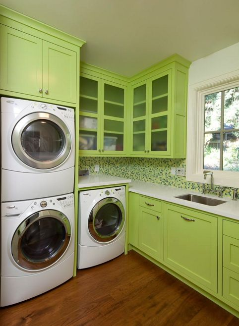 Green Laundry Room Design With Stacked washer