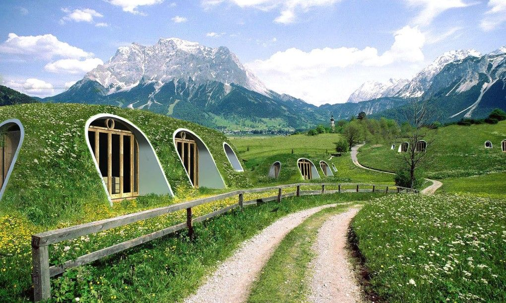 Green-roofed Hobbit home Finish