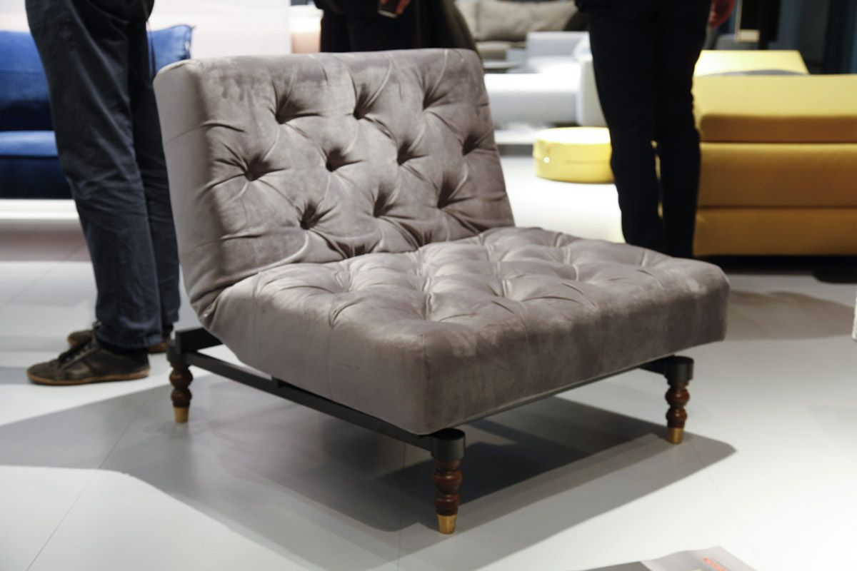 Grey velvet 'old school' sofa chair