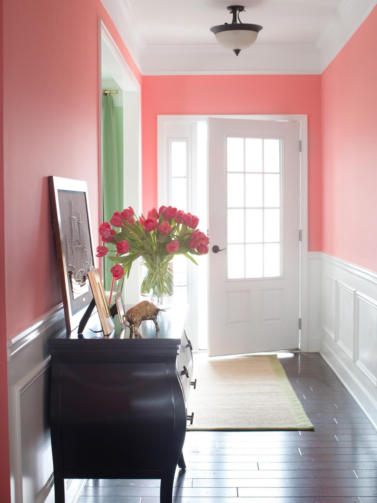 Pops of pink in every room yes for Foyer paint color decorating ideas