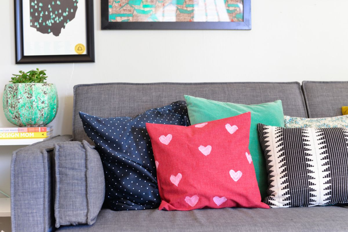 Heart Stamped Pillow Cover on Sofa
