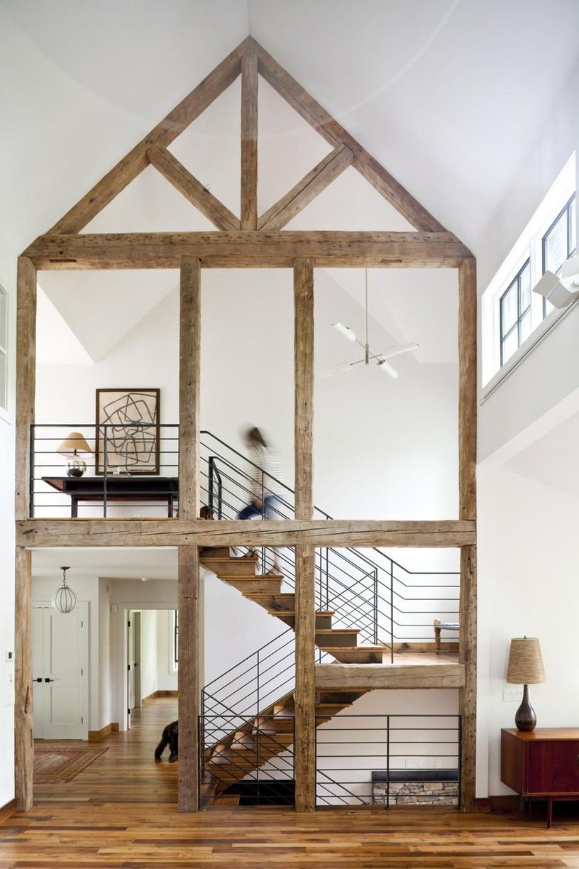 House frame exposed beams